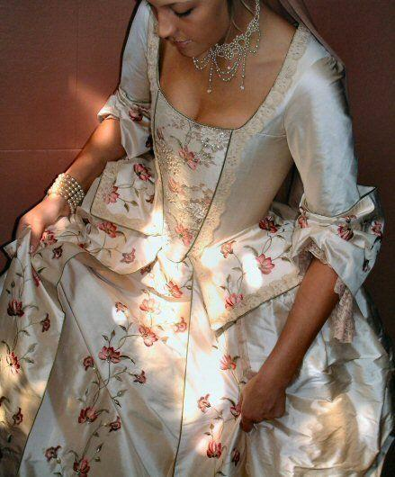 Eighteenth century style caribbean pirate wedding dress for Period style wedding dresses