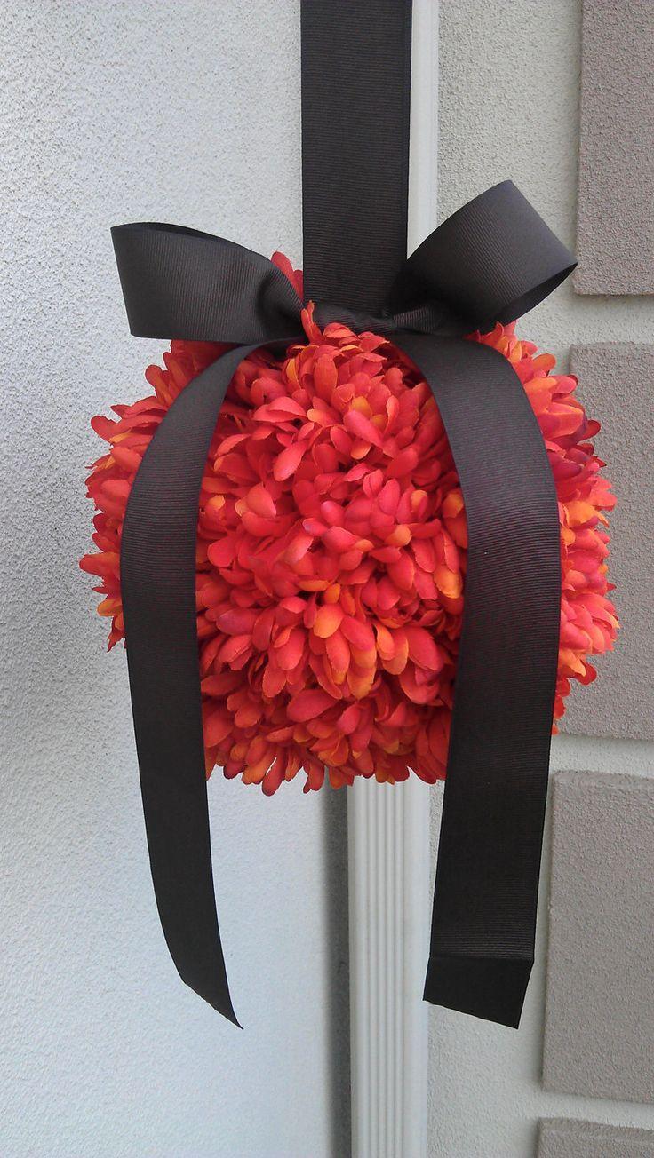 Wedding - Fall Wedding Decor, Pomander Kissing Ball Orange