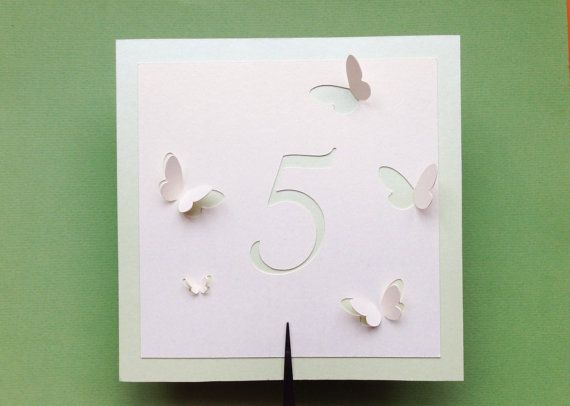 Wedding - Table Numbers, Butterflies Themed Wedding, Butterfly Summer Collection, Romantic Event Favors, Cutout, Scrapbook, Papercut By Naboko