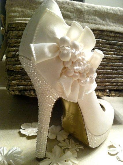 Wedding Items | Items Similar To Ivory Wedding Shoes Custom Swarovski Wedding
