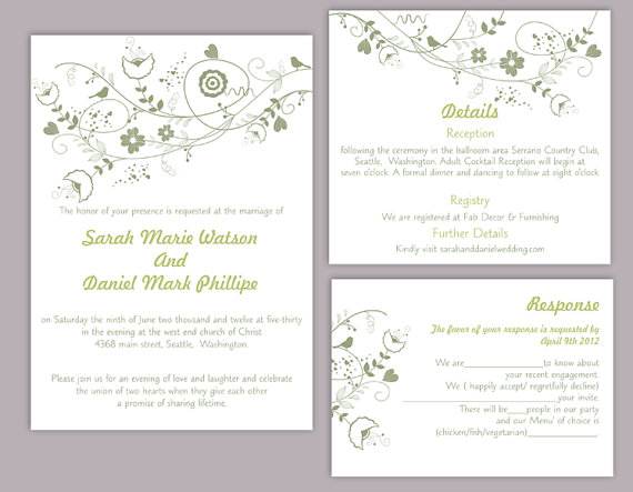 Wedding - DIY Wedding Invitation Template Set Editable Word File Instant Download Floral Wedding Invitation Bird Invitation Printable Green Invitation