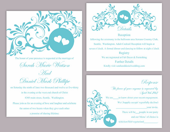 DIY Wedding Invitation Template Set Editable Word File Download Printable  Blue Invitation Turquoise Wedding Invitation Heart Invitation