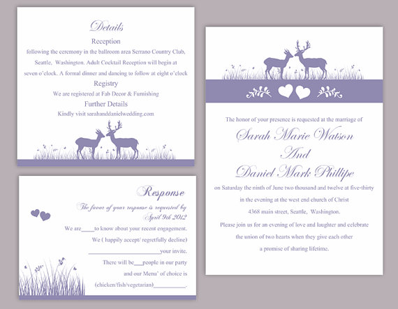 Wedding - DIY Wedding Invitation Template Set Editable Text Word File Download Printable Reindeer Invitation Purple Wedding Invitation lavender invite