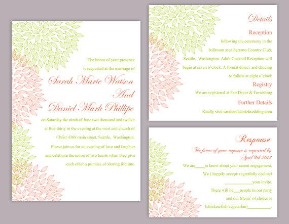 Wedding - DIY Wedding Invitation Template Set Editable Word File Instant Download Printable Floral Invitation Pink Wedding Invitation Green Invitation