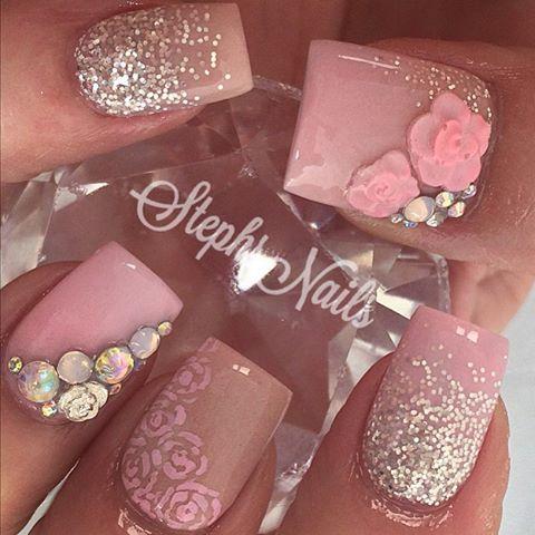 """زفاف - Stephanie Loesch On Instagram: """"#floralnails#nude#pink#roses#silver#glitter#glitterombre#love#cutenails#stephsnails#lodinails#acrylicnails#flowers#glitter#pink#agirlsfavorites#stephset"""""""