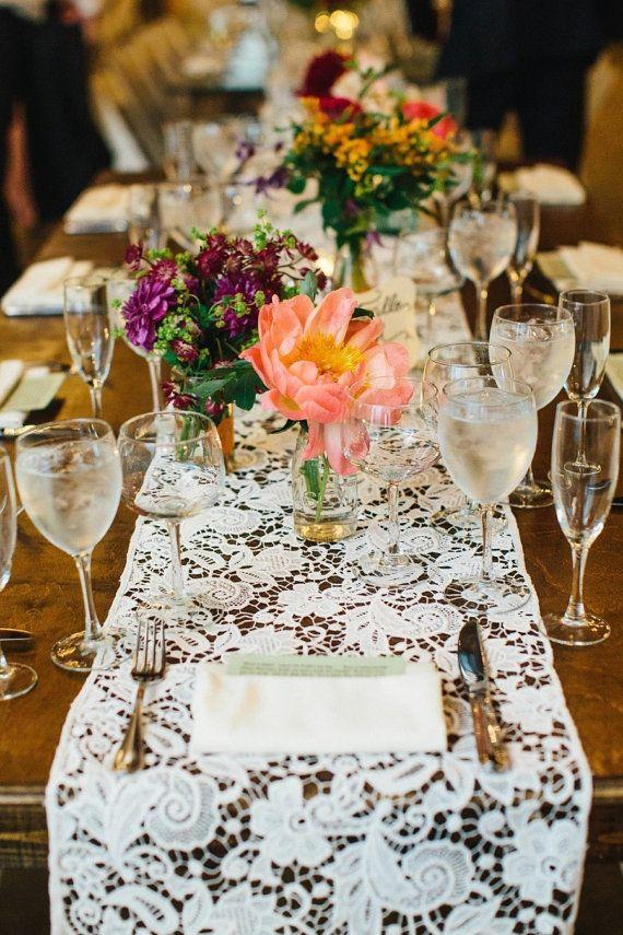 Свадьба - White Lace Table Runner