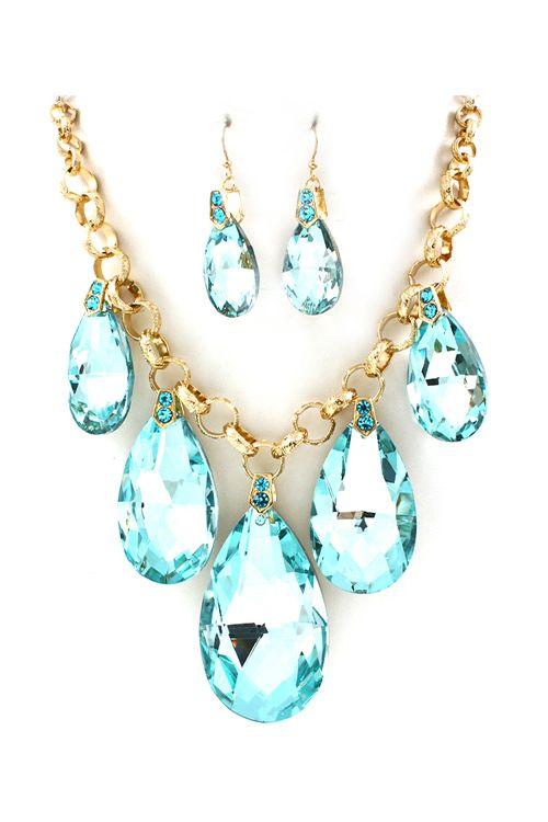 Wedding - Aquamarine Crystal Dakota Necklace