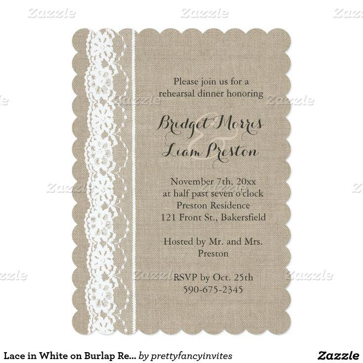 Wedding - Lace In White On Burlap Rehearsal Dinner Invite