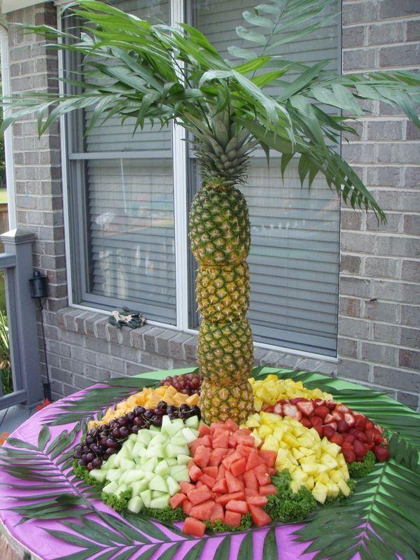 Wedding - How To Make A Pineapple Palm Tree For A Serving Tray
