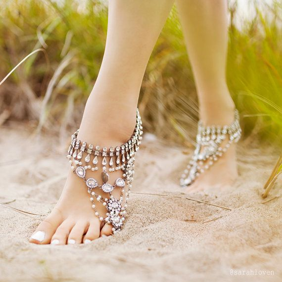 Hochzeit - SILVER Barefoot Sandals, Women's Ankle Jewellery, Bellydancing Jewelery, Tribal Footwear, Sold As Pair, Style: Ancient Dance Silver 'B1448'