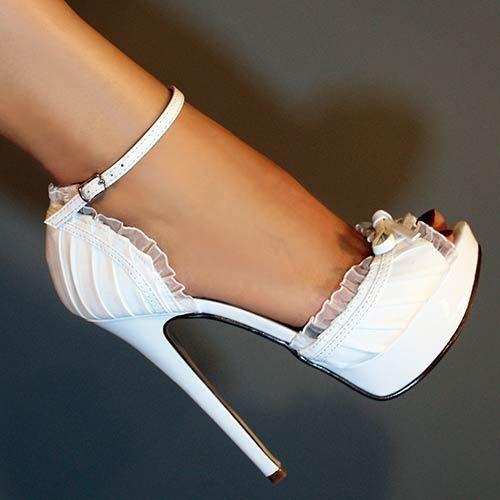 زفاف - White Satin Ruffle Ankle Strap