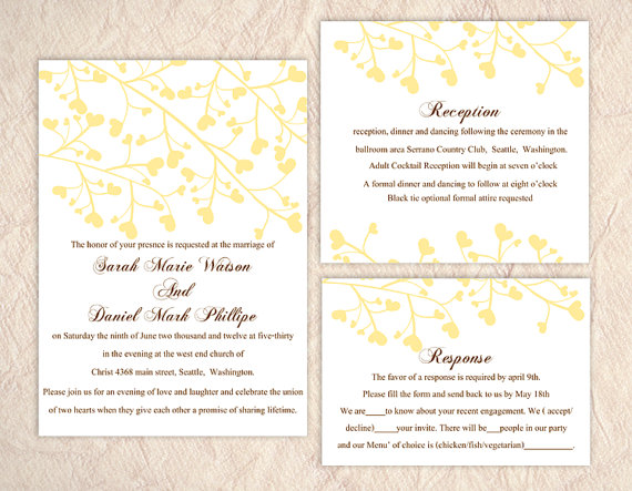 Printable Wedding Invitation Suite Printable Invitation Yellow