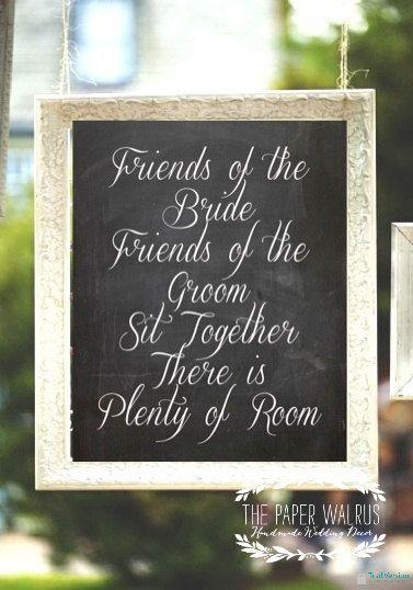 Свадьба - Chalkboard Wedding Seating Sign // Friends Of The Bride // Rustic Weddings (PG-5)