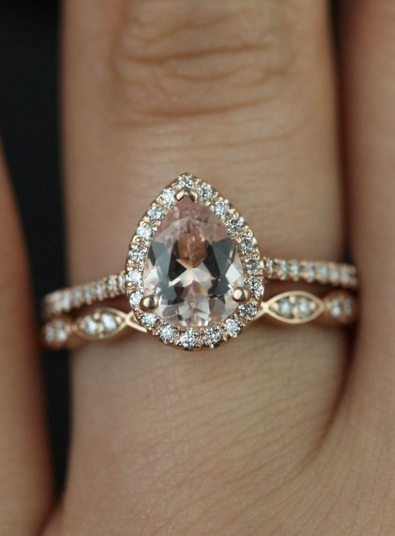 Tabitha 8x6mm Christie Band 14kt Rose Gold Pear Morganite And