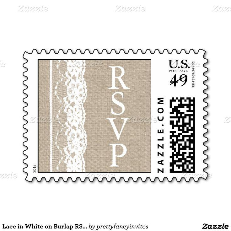 زفاف - Lace In White On Burlap RSVP Stamp