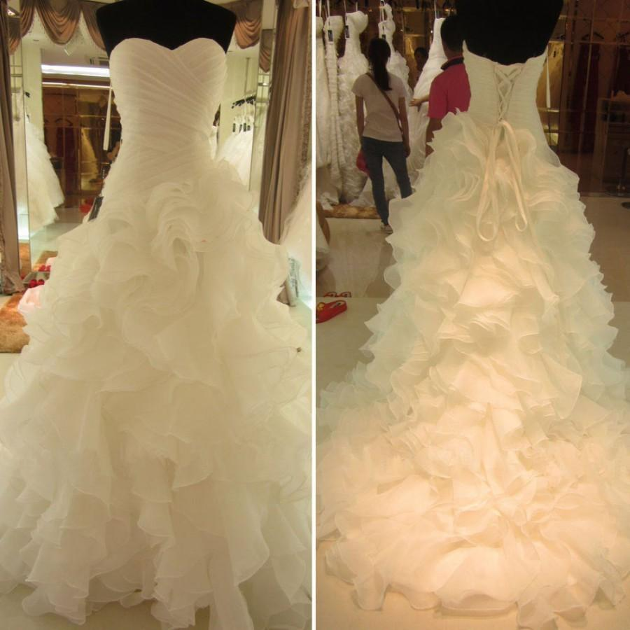 Wedding - Lace-up Wedding Dress with Rich Ruffles Sweetheart Bridal Gown