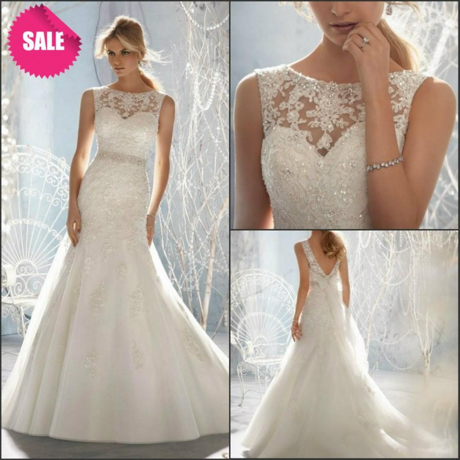 Wedding - Wedding Dresses with Pearls Bridal Gown with Lace and Beadings