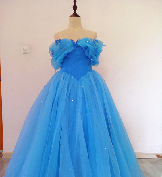 Wedding - Real Photos Floor Length Off-shoulder Corset Cinderella Dress with Butterflies and Beadings Light Blue Ball Gown