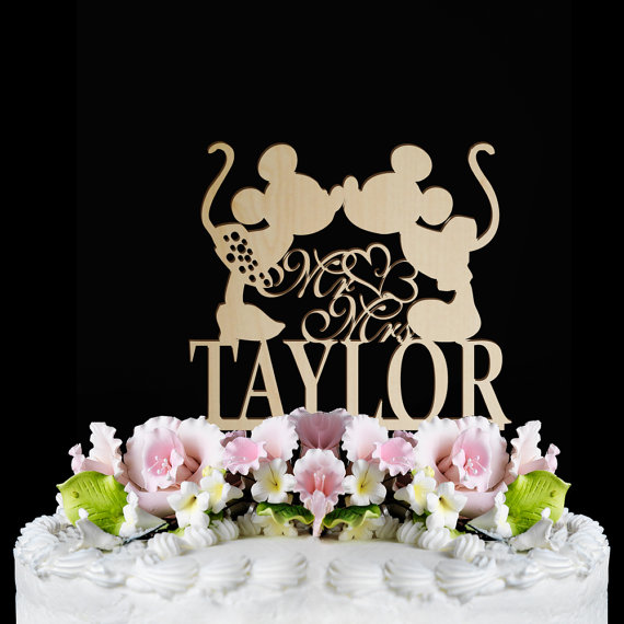 Rustic Wedding Cake Topperdisney Cake Topper Mr And Mrs With Personalized Wedding Cake Topper