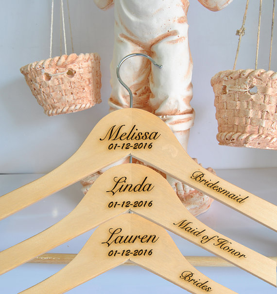 Mariage - Personalized Bridesmaid Hanger engraved name and date, Bridal Hanger, custom Wedding Dress Hangers, wedding hangers, sets of 3
