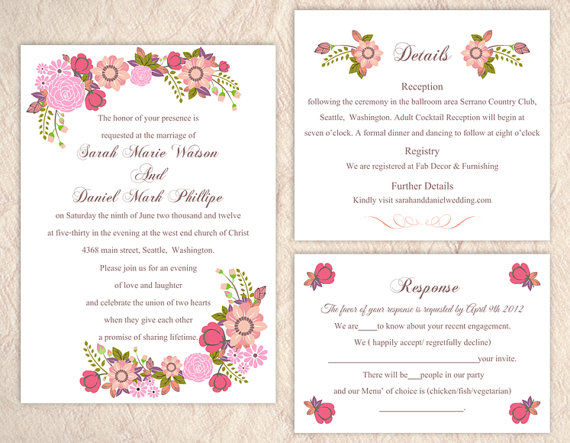 Hochzeit - DIY Wedding Invitation Template Set Editable Word File Instant Download Printable Pink Wedding Invitation Elegant Floral Invitation