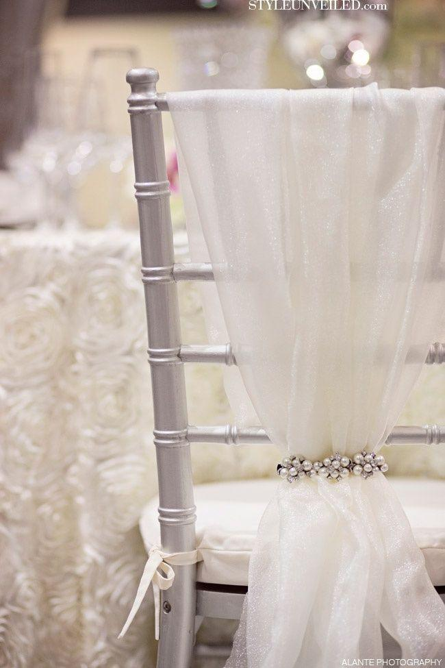 Wedding - Tulle And Sparkly Chair Cover.