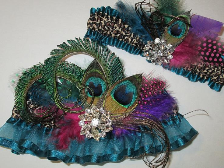 Boda - Bridal Wedding Garter Set, Leopard Garters, Teal Green Garters, Peacock Garters, Fuchsia/Teal Blue/Green/Purple Feathers/Destination Bride