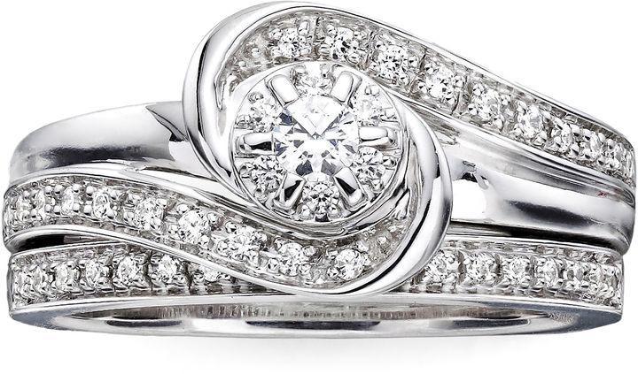Tw Diamond Lab Created Blue Sapphire Bridal Ring Set
