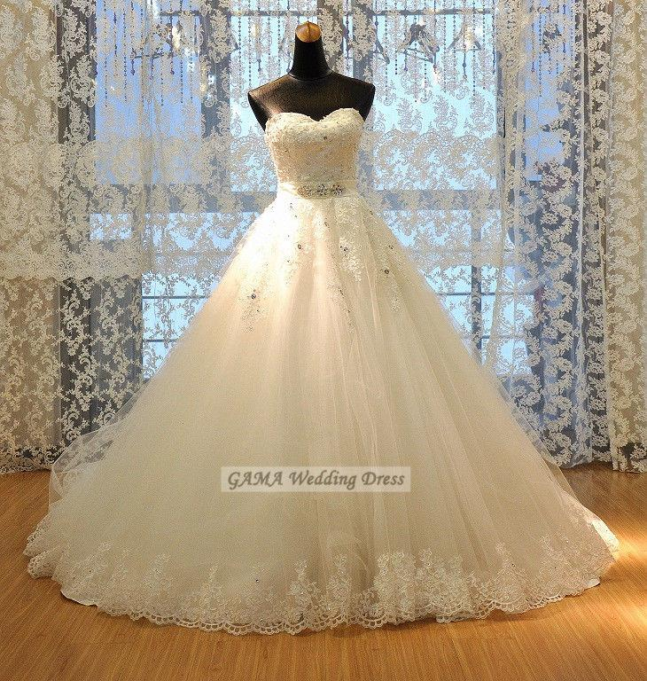 Свадьба - Chic Wedding Dress with Sequin and Lace Bridal Gown with Beaded Sash Custom Made