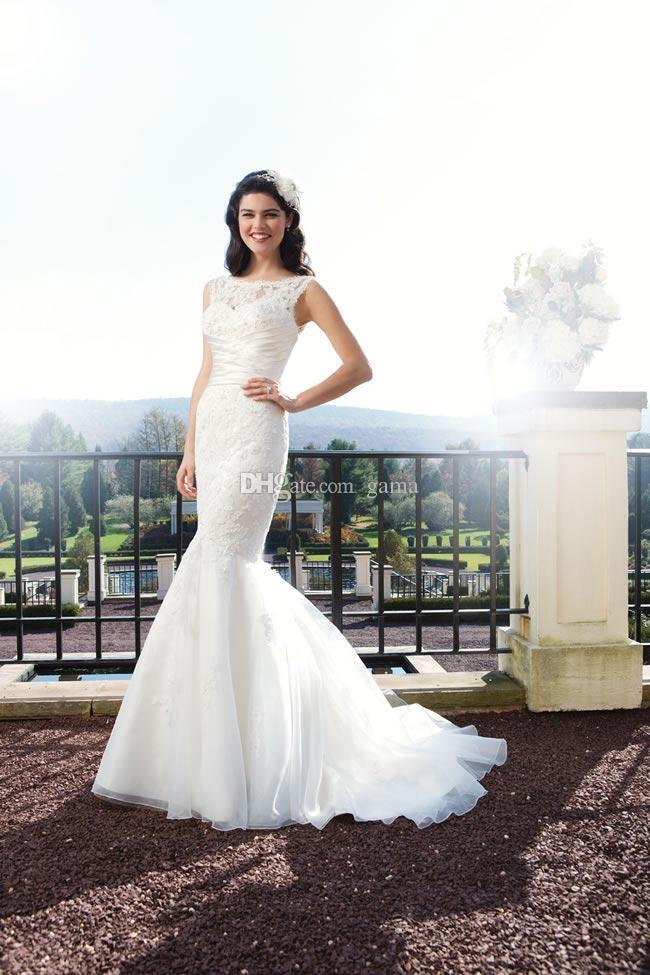 Wedding - Scoop Neckline V-back with Covered Buttons Court Train Mermaid Wedding Dresses with Removable Lace Straps Custom Size Made Bridal Gowns Online with $146.6/Piece on Gama's Store