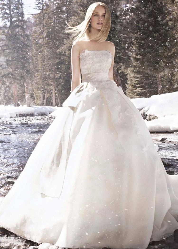 Wedding - Snow Queen Strapless Zipper Back Closure Court Train Satin And Lace Wedding Dress with Ribbon Sash Bridal Gown Online with $136.13/Piece on Gama's Store