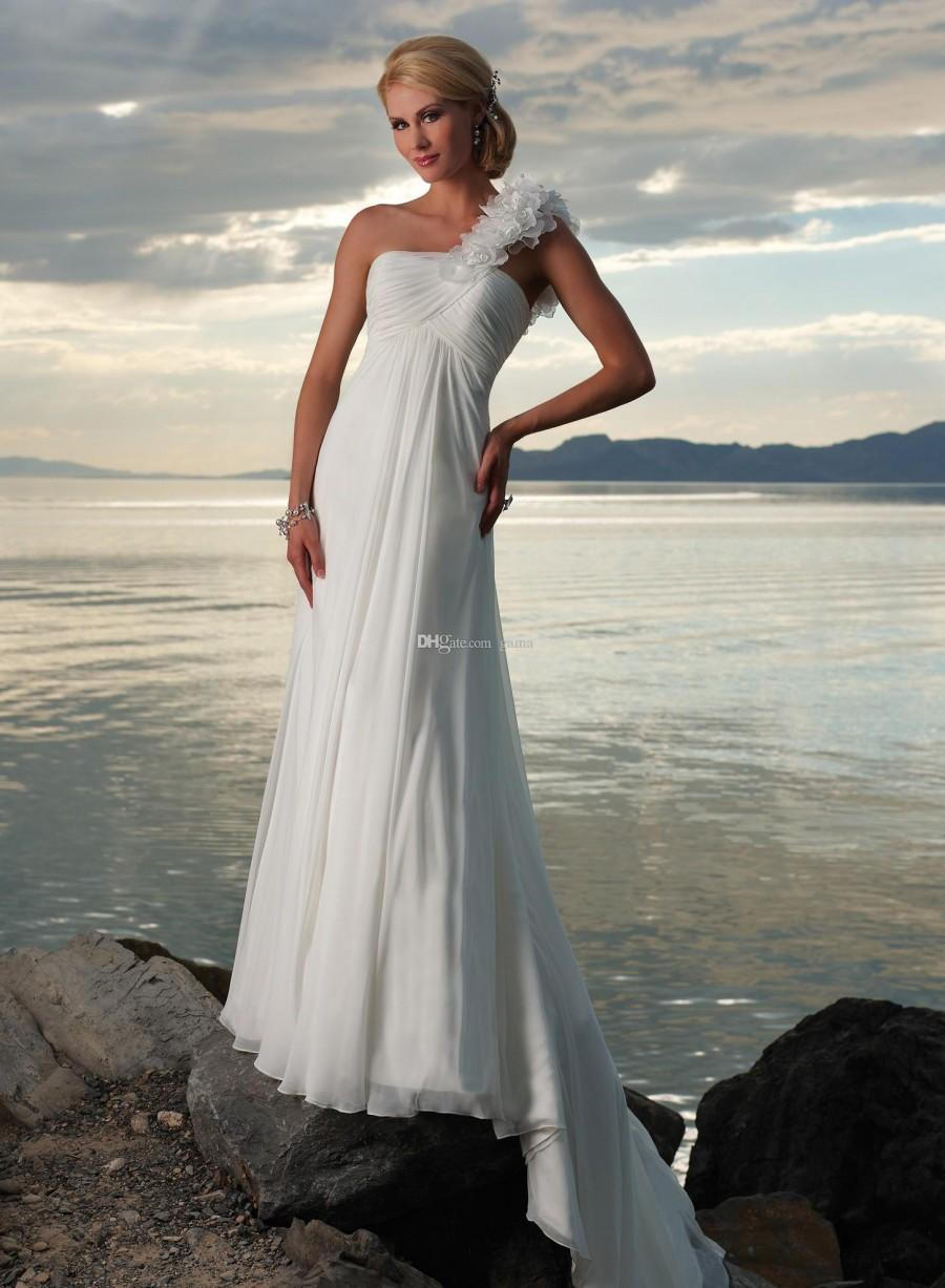 2015 Hot Sale Chiffon Floral Fashion One Shoulder Beach Wedding Dress With Rouched Bodice And Slim Sheath Skirt Outdoor Bridal Gowns Online