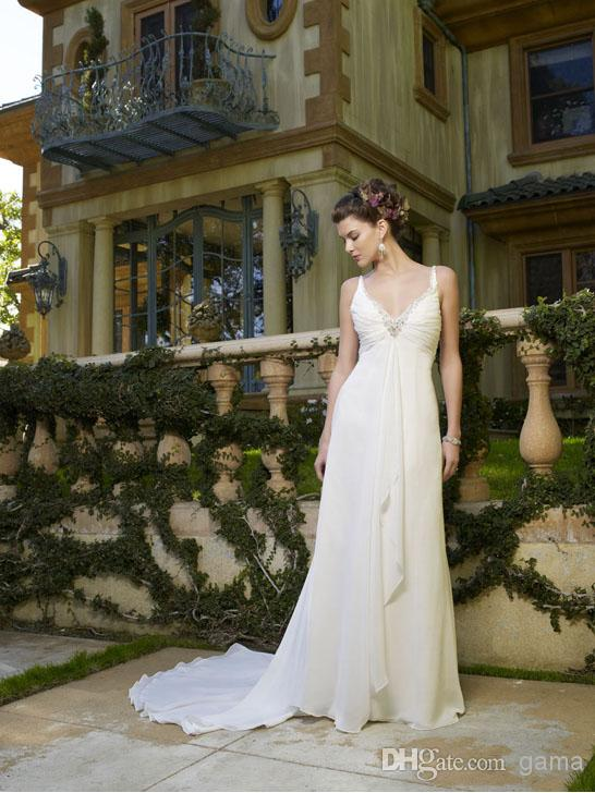 Wedding - Sexy Ruched V-neck with Beadings Graceful Sheath/Column Summer Chiffon Beach Wedding Dresses with Center Front Draping Custom Made Size Online with $104.72/Piece on Gama's Store