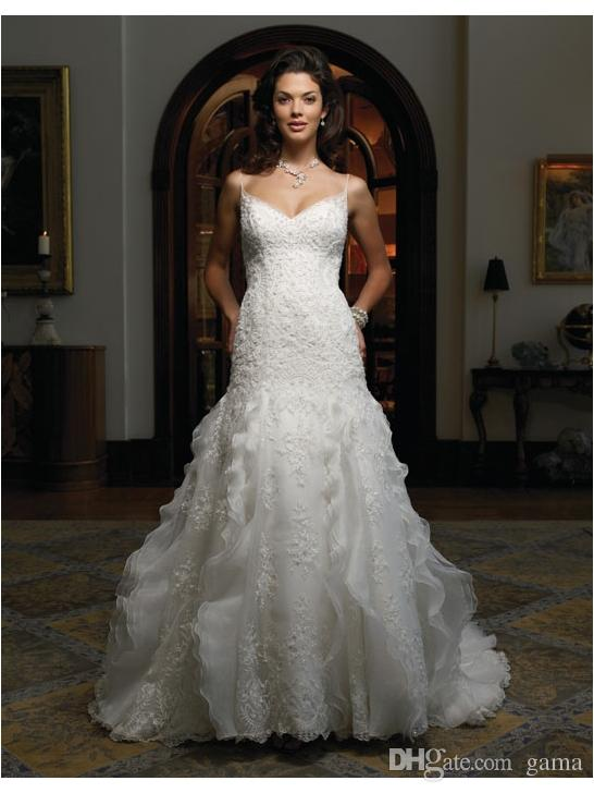 Wedding - Summer Wedding Dresses 2015 Spaghetti Straps Sexy V-neck And V-back Chapel Tain Bridal Gowns with Beadings And Sequins Custom Size Made Online with $168.49/Piece on Gama's Store