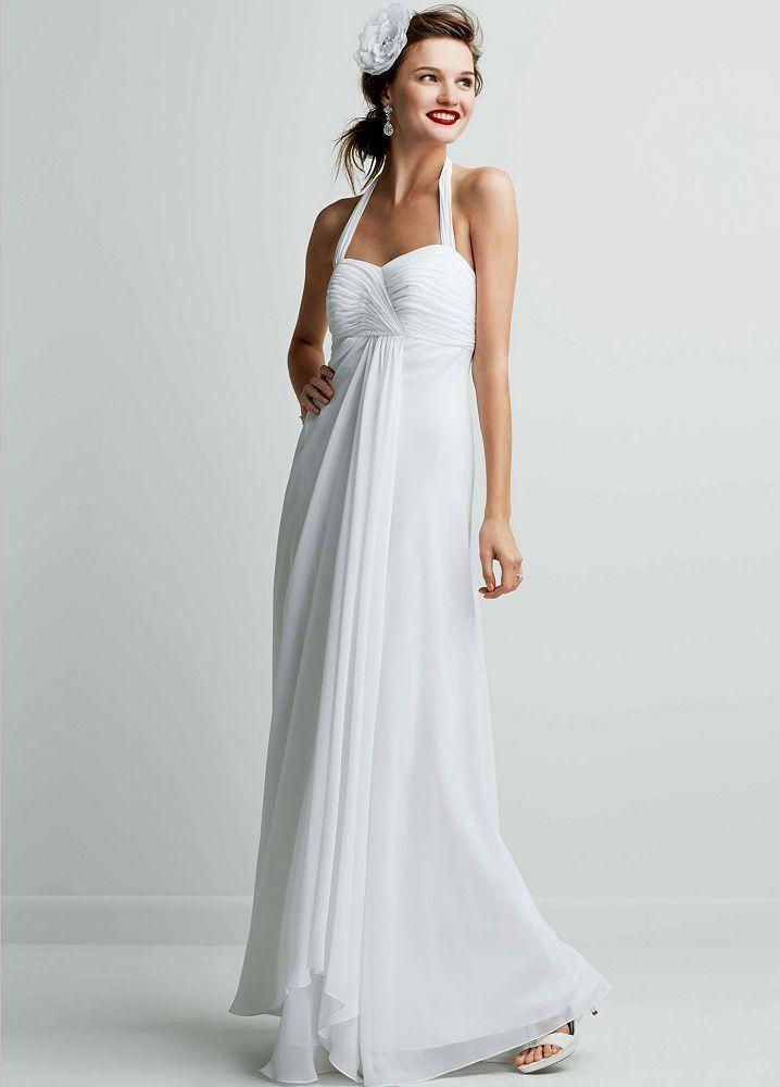 Breezy halter chiffon sweetheart neckline surplice empire for Halter wedding dresses beach
