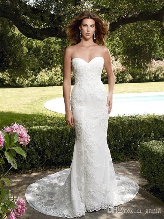 Wedding - Court Train Sweetheart Neckline with Side Slit Timeless Mermaid/Trumpet Lace Wedding Dresses Sleeveless Backless Bridal Gowns Online with $147.54/Piece on Gama's Store