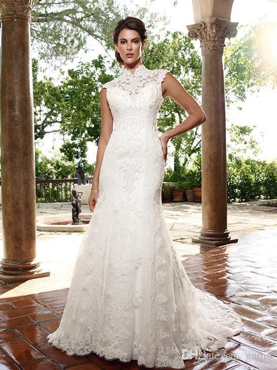 Wedding - Full Of Lace Gothic Long Train Open Back Bridal Dresses Wedding Gowns Online with $149.64/Piece on Gama's Store