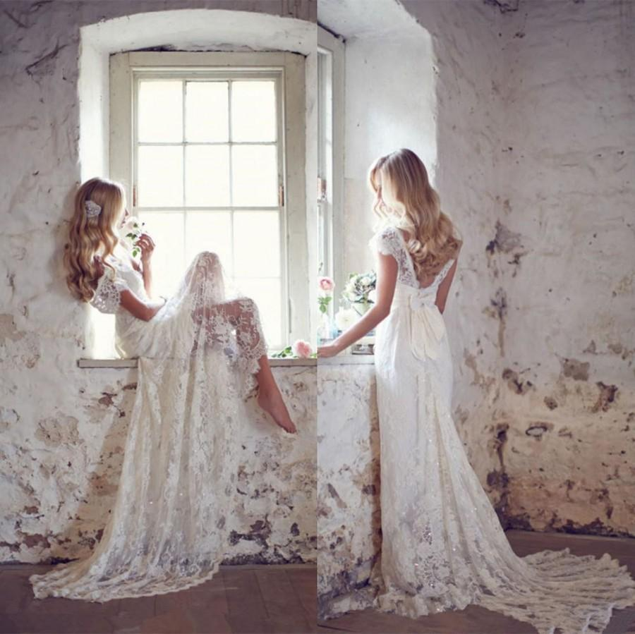 BIG SALE Soft Lace Boho Wedding Dress With Bow Sash Cap Sleeves ...