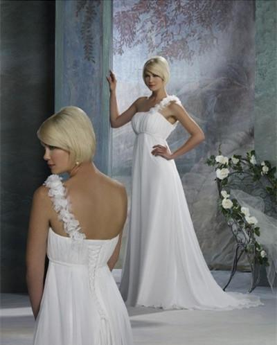 Wedding - 2015 New Arrival One-shoulder Beach Wedding Dresses with Ruffles Empire Column/Sheath Slim Skirt Court Train Summer Bridal Gowns Online with $104.72/Piece on Gama's Store