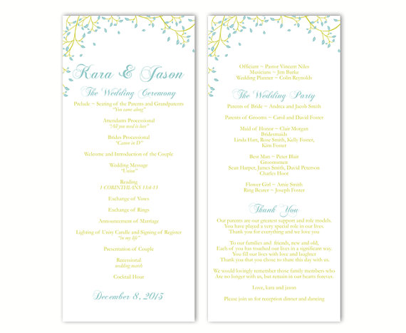 Hochzeit - Wedding Program Template DIY Editable Word File Instant Download Program Blue Program Leaf Program Green Printable Program 4 x 9.25inches
