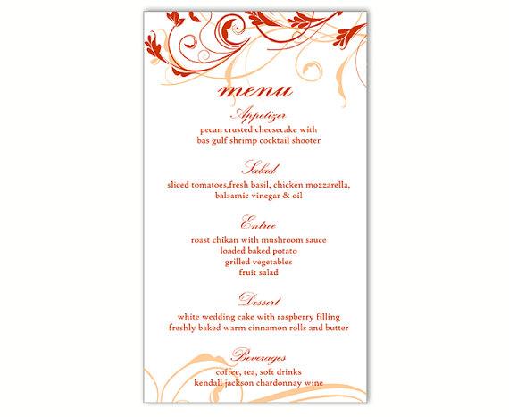 wedding menu template diy menu card template editable text word file instant download red menu. Black Bedroom Furniture Sets. Home Design Ideas