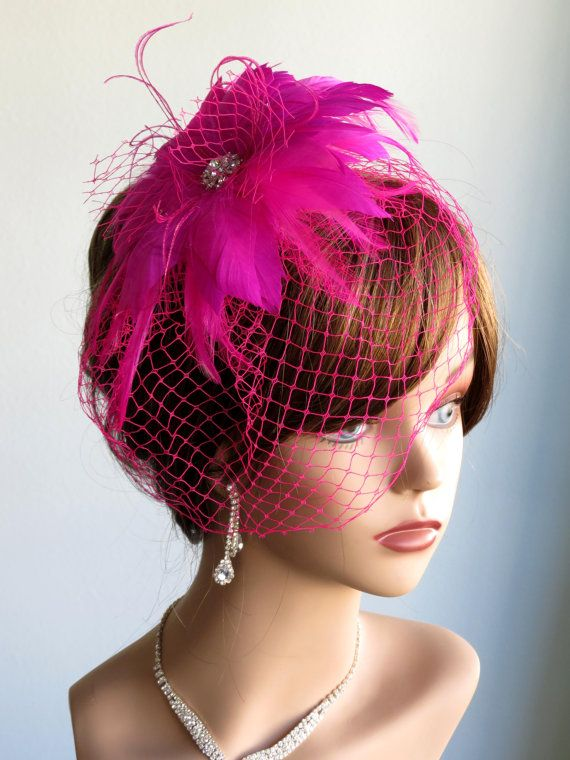 Hochzeit - Hot Pink Wedding Head Piece Fascinator Wedding AccessoryFeathers Brooch Vail Bridal Accessory