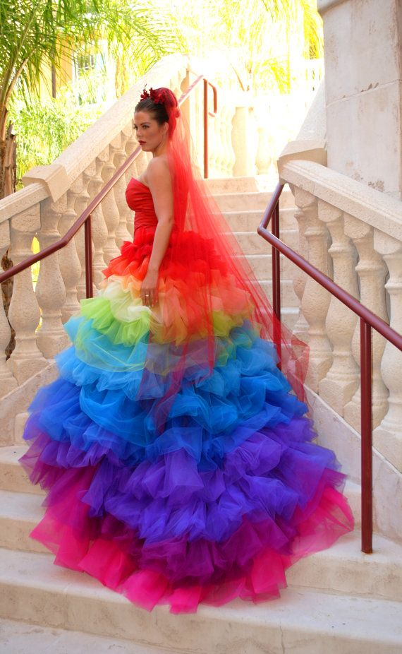 hot new products enjoy best price new selection Ricky Lindsay Esperanza Haute Couture Rainbow Evening Gown ...