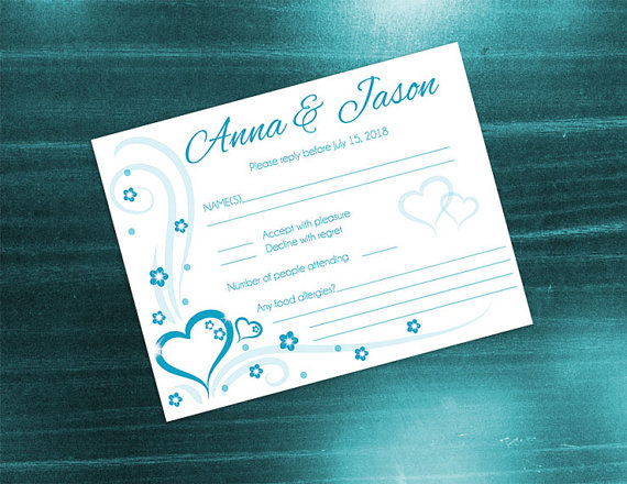 Wedding - DIY Printable Wedding RSVP Card Template
