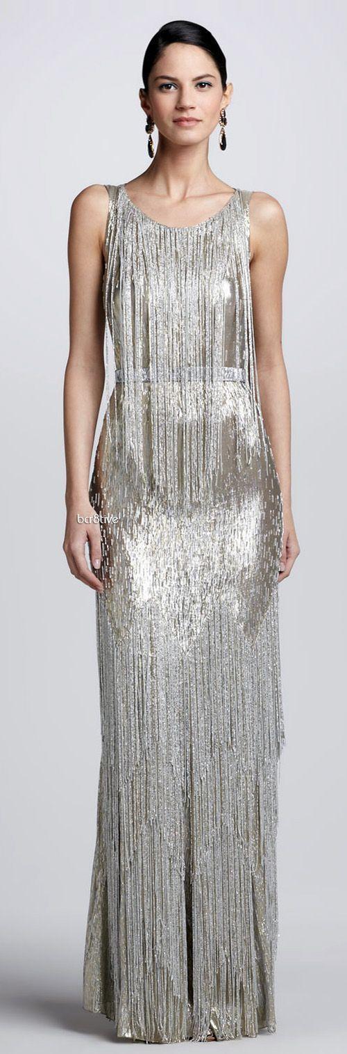 Свадьба - Bead-Fringe Sleeveless Column Gown