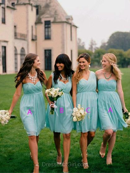 Wedding - A-line Sweetheart Chiffon Short/Mini Pleats Bridesmaid Dresses
