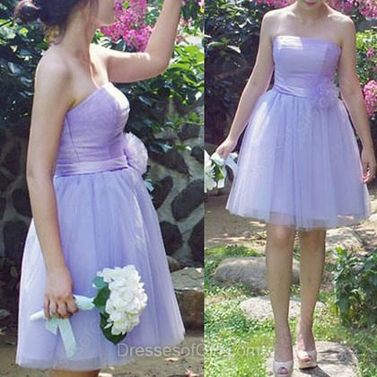 زفاف - Ball Gown Strapless Tulle Short/Mini Flower(s) Bridesmaid Dresses