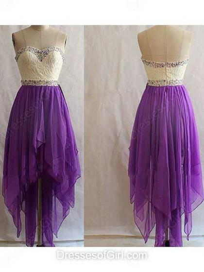 Wedding - A-line Sweetheart Chiffon Asymmetrical Beading Prom Dresses