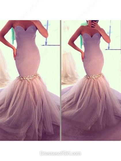 Wedding - Trumpet/Mermaid Sweetheart Tulle Silk-like Satin Floor-length Appliques Lace Prom Dresses