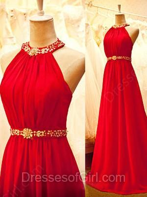 Hochzeit - A-line Halter Chiffon Floor-length Beading Prom Dresses
